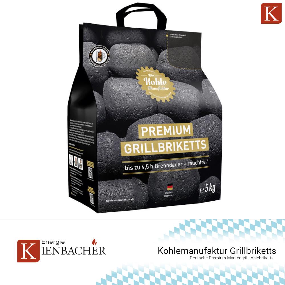 ✅ 20kg Kohlemanufaktur Premium Grill Briketts BBQ Kohle Brikett 4,5h Glutdauer ✅